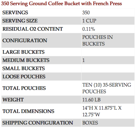 350 Serving Coffee Bucket with French Press