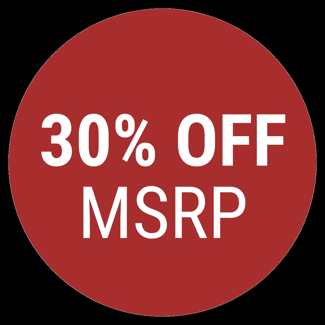 30% OFF MSRP