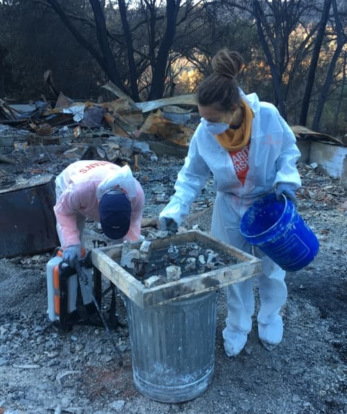 Nadia Zbyszycki from Crisis Equipped doing ash outs at Paradise, CA