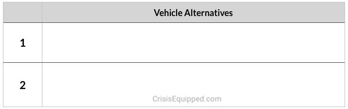 Vehicle Alternatives during evacuations